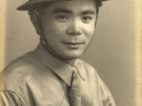 Richard Miyashiro with helmet. (Courtesy of Gloria Miyashiro)