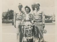 Grant Park, Chicago - Sgt. Dick Hirano, Marylyn Blagina, Corp. Ginohara, Sgt. Shimogaki. (Courtesy of Alvin Shimogaki)