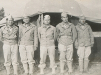 Old Camp McCoy. The boys in my tent - PFC Takeo Moriwaki, Sgt. Shimogaki, Corp. Bill Tanigawa, PFC Horace Awa, Pvt. Peepsight Yoshisato. (Courtesy of Alvin Shimogaki)