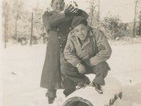 Camp McCoy, Dec. 1, 1942 - Sgt. Shimogaki and Sgt. Richard Hamasaki. (Courtesy of Alvin Shimogaki)
