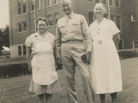 Camp McCoy, July 5, 1942 - Capt. Phillip Peck and two Hillsboro ladies. Taken at Hillsboro High School. (Courtesy of Alvin Shimogaki)