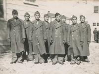 Camp McCoy, non-coms of 2nd platoon - Sgt. Bill Oya, Sgt. Ronald Kiyabu, Staff Sgt. Larry Mizumo, Corp. Saburo Yokoyama, Sgt. Richard Sasaki, Corp. Dick Sasaki, Corp. T. Morikawa, Sgt. Shimogaki. (Courtesy of Alvin Shimogaki)