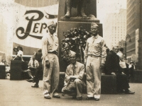 New York City, July 8, 1943. Taken in front of Father Duffy statue - PFC Stew Yoshioka, Sgt. Eddie Kiyota, Sgt. Shimogaki.  (Courtesy of Alvin Shimogaki)