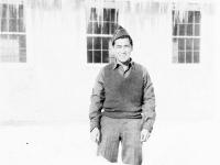 Leighton Goro Sumida at Camp McCoy, Wisconsin, winter 1942 [Courtesy of Goro Sumida]