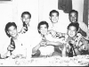 At the Shoyu Tea House in 1946, Back row : Takeo Takahashi, Wasato Harada, Ernest Sasaki.  Front row:  Chikami Hirayama, Goro Sumida, Fred Matsuo [Courtesy of Goro Sumida] Inscription: Reverse: KT. Shoyu Tea House 1946. Back: Takeo Takahashi, Wasato Harada, Ernest Sasaki. Front: Chikami Hirayama, Goro Sumida, Fred Matsuo
