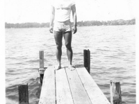 William Takaezu on a dock in Ship Island, Mississippi. [Courtesy of Mrs. William Takaezu]