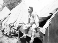 Joe Takata relaxes at Camp Shelby, Mississippi. [Courtesy of Mrs. William Takaezu]