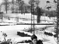 William Takaezu with a snowball in Paris, France. [Courtesy of Mrs. William Takaezu]