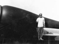 Tokuji Ono with cannon on Ship Island, Mississippi. [Courtesy of Mrs. William Takaezu]