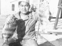 Herbert Ishii with sheepshead fish on Cat Island, Mississippi. [Courtesy of Mrs. William Takaezu]