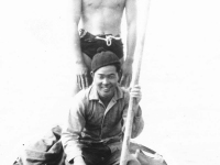 Kenneth Iwashita and Yasuo Takato fishing near Cat Island, Mississippi. [Courtesy of Mrs. William Takaezu]