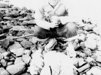 Yasu Takata with the day's catch from Cat Island, Mississippi. [Courtesy of Mrs. William Takaezu]