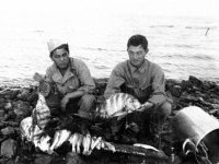 Masao Hatanaka and Yukio Yokota with day's catch from Cat Island, Mississippi. [Courtesy of Mrs. William Takaezu]