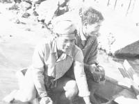William Takaezu and Harry Hirasuna in a rowboat at Cat Island, Mississippi. [Courtesy of Mrs. William Takaezu]