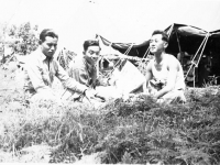 H. Yonashiro, S. Ishizuka, and K. Yamashita  at Camp McCoy, Wisconsin (Courtesy of Alvin Tsukayama)