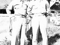 Nishie and Nori at Camp McCoy, Wisconsin. Inscription: Pfc. (Monte) Nishie Pf. Nori (Courtesy of Alvin Tsukayama)