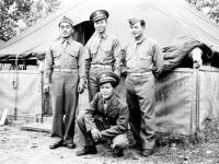 M. Kondo, Conrad Tsukayama, Makata, and Jack Matsumoto at Camp McCoy, Wisconsin (Courtesy of Alvin Tsukayama)
