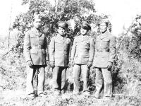 At Camp McCoy. H. Kami, C. Tsukayama, M. Yahata, J. Ohara (Courtesy of Alvin Tsukayama)