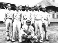 L.R. S - Tanabe, K. Yoshioka, K. Yamashita, G. Yasso, Jack Matsumoto, C. Tsukayama, Heman Teruya, and Bill Kobashigawa in front (Courtesy of Alvin Tsukayama)