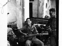 Soldiers play music while in Italy (Courtesy of Alvin Tsukayama)