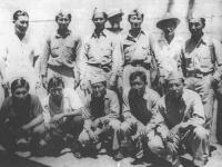 Men of Alapai: Area- Alapai, King, Cook, Kapiolani Blvd; who served in the USA Armed Services; MIS: Robt. Isamu Miyamoto; Co. B: Jay Suzuki; Co. A: Kaoru Naito; No Service: S. Mizukami; Co. B: Masami R. Murakami; ? Korean Friend; 442: Saburo Tanaka; Co. B: Katsumi Maeda; Co. B: Yasuto Furusho; Co. B: Ukichi Wozumi [Courtesy of Ukichi Wozumi]