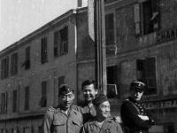 Three soldiers pose at Beausoleil La Turbie street sign [Courtesy of Ukichi Wozumi]