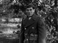 Sgt. Masaharu Takeba poses in his winter coat [Courtesy of Ukichi Wozumi]