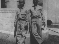 Isao Nadamoto and friend at the Memorial of the Soldiers in Jackson, Mississippi. [Courtesy of Ukichi Wozumi]