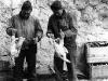 Uki Wozumi and Yukio Nakamoto prepare chickens for dinner [Courtesy of Ukichi Wozumi]