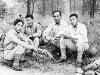 Masao Koizumi, Masji Kutara, Richard Yoneshige, and Uki Wozumi take a rest [Courtesy of Ukichi Wozumi]