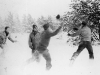 Soldiers play football in the snow at Camp McCoy, Wisconsin [Courtesy of Ukichi Wozumi]