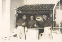 Captain Kometani and Sakae Takahashi have a drink in Italy. [Courtesy of Dorothy Kometani]