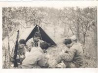 Playing Hearts at Camp McCoy in November 1942.  Clockwise: S. Teruya, R. Taomae, Yutaka Inuoye, Clarence, Kawano