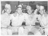 Sam Tomai (far right) at a diner with fellow soldiers [Courtesy of Sandy Tomai Erlandson]