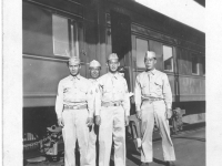 Hide, Koizumi, Sam Tomai, and Goro at the Minneapolis RR station on July 11, 1942 [Courtesy of Sandy Tomai Erlandson]