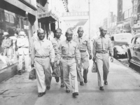 Koizumi, Hide, Mushy, Goro, Joe on the way to Minneapolis station in July 1942. [Courtesy of Sandy Tomai Erlandson]