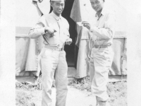Sam Tomai and Takashi Kitaoka in front of their tent at Camp McCoy [Courtesy of Sandy Tomai Erlandson]
