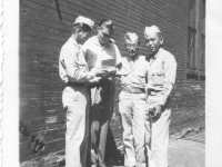 Yamada, Komodo, and Hirayama get Bob Eberly's (center) autograph at stage entrance to Riverside theater in Milwaukee, Wisconsin, August 1942 [Courtesy of Sandy Tomai Erlandson]