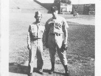 Sam Tomai with Joe Dimaggio at the Yankees/Cardinals game [Courtesy of Sandy Tomai Erlandson]