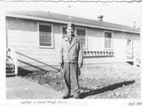 Sam Tomai at Camp McCoy, Wisconsin after a hard day's work in October 1942 [Courtesy of Sandy Tomai Erlandson]
