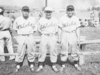 "Members of the Aloha team.  ""Former Asahis -Moriguchi, Yamashita, Takata"" [Courtesy of Sandy Tomai Erlandson]"