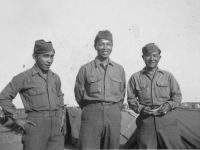 Norman Oda, Kazuto Shimizu, Tom Miyoken.  The three Sarges caught off guard!  Italy, vicinity of Ghedi, May 29, 1945. [Courtesy of Kazuto Shimizu]
