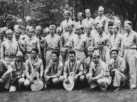 The 100th baseball team, accompanied by their own musicians, played other teams in Wisconsin while the battalion was stationed at Camp McCoy. (Courtesy of Kazuto Shimizu)