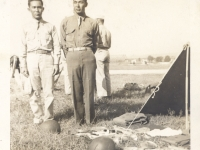 Shinyei Nakamine (left) and his tent mate at Camp McCoy, Wisconsin. (Courtesy of Anita Korenaga)