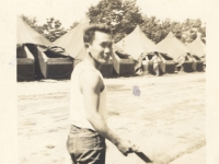 "Shinyei Nakamine walks through ""Tent City"" at Camp McCoy, Wisconsin. (Courtesy of Anita Korenaga)"