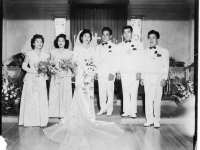 The wedding of Stanley Teruya and Frances Yonamine with Goro Sumida as best man and Richard Yamamoto in the wedding party (Courtesy of Ethel Teruya)