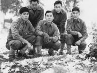 Sept 26,1942. Camp McCoy. Y Squad  L. to R. Back Row  Yasuo Yasui Donald Nagasaki. Front Row - T. Okumura, Me, I. Inouye. [Courtesy of Leslie Taniyama]