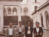 Takeshi Teshima, James Kengo Miyano, Kenneth Kaneko and Robert Kadowaki at St. Benedict's Monastery, Cassino, Italy in April 2000. [Courtesy of Ted Teshima]