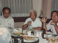 Young Oak Kim, Mike Miyake and Takeshi Teshima during the John Tsukano's tour to Japan in May 1988.[Courtesy of Ted Teshima]