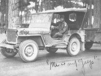 An MIS soldier and his jeep in the Philippines. [Courtesy of Florence Matsumura]